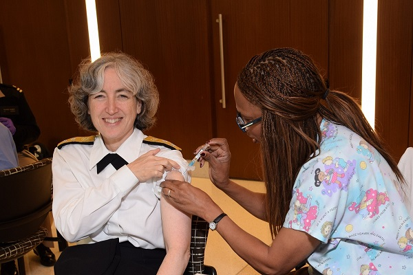 Dr. Anne Schuchat, Assistant Surgeon General, US Public Health Service; Director, National Center for Immunization and Respiratory DIseases, CDC, receives an annual flu vaccine.