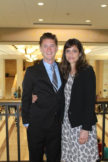 Invisible Threat student narrator pictured with actor Amanda Peet at the Capitol Visitors' Center