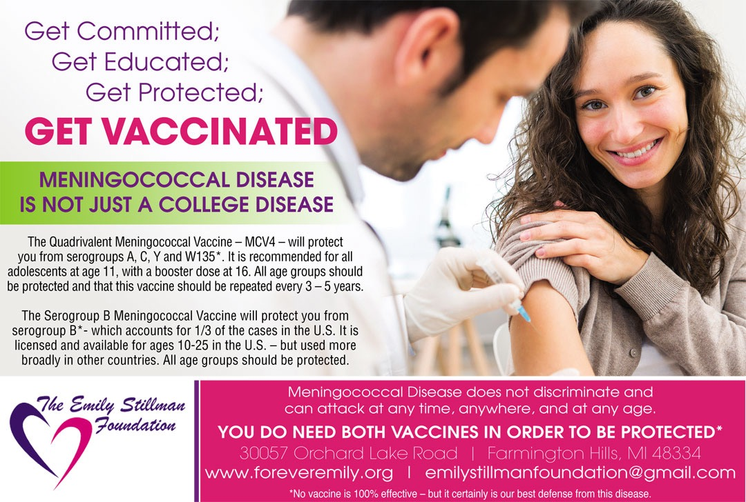 The Emily Stillman Foundation is helping to educate the public about the various meningococcal vaccines available. The foundation was created in 2014 to preserve the memory of Emily Nicole Stillman who died at the age of 19 as a result of complications from serogroup B meningococcal disease.